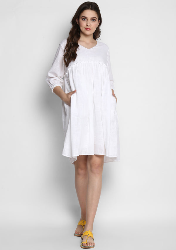 White Short Cotton Dress with Fitted Bodice and Gathers