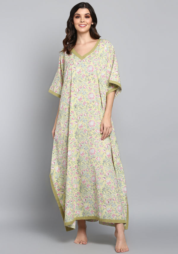 Soft Green Pink Hand Block Printed Floral V-Neck Cotton Kaftan
