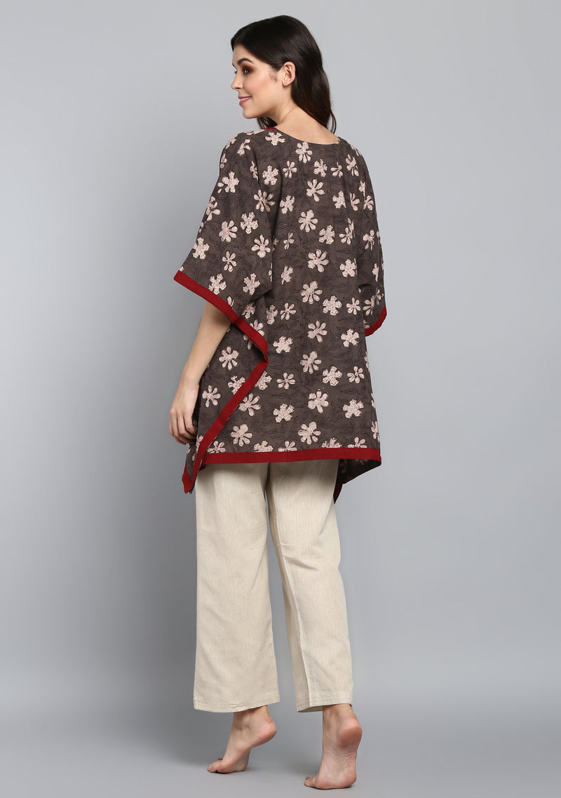 Beige Brown Hand Block Printed Flower Motif Short Kaftan Tunic
