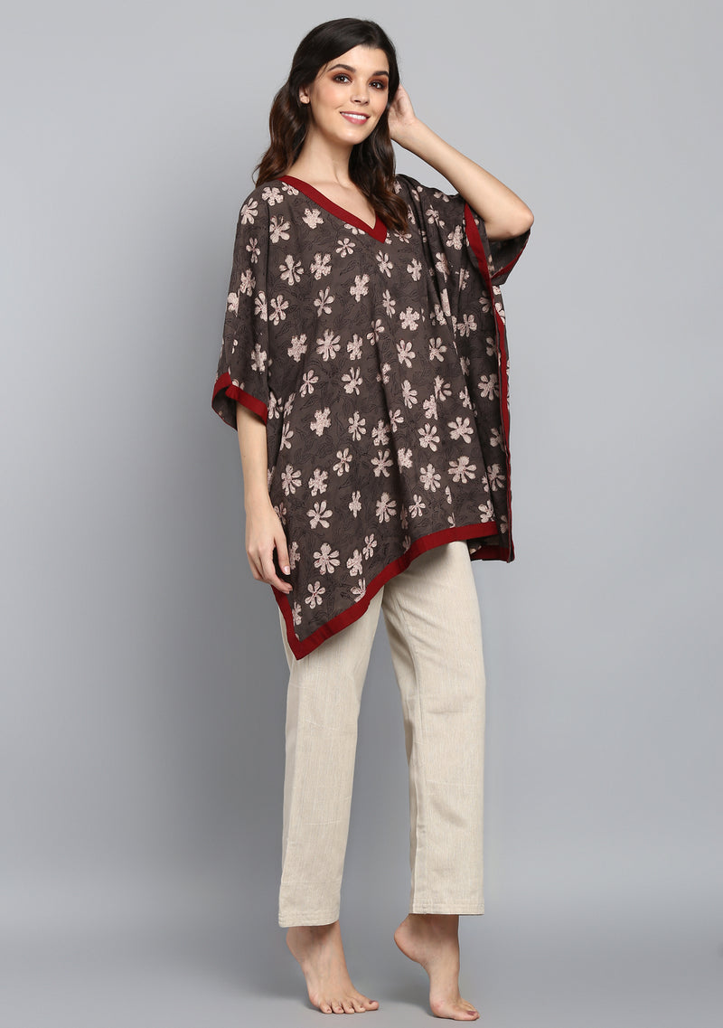 Brown Maroon Flower Motif Hand Block Printed Short Kaftan with Beige Pyjamas