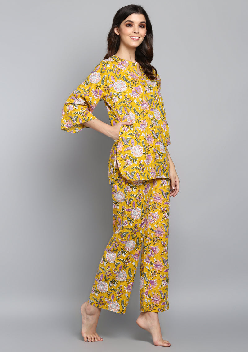 Yellow Mauve Floral Hand Block Printed Floral Cotton Night Suit