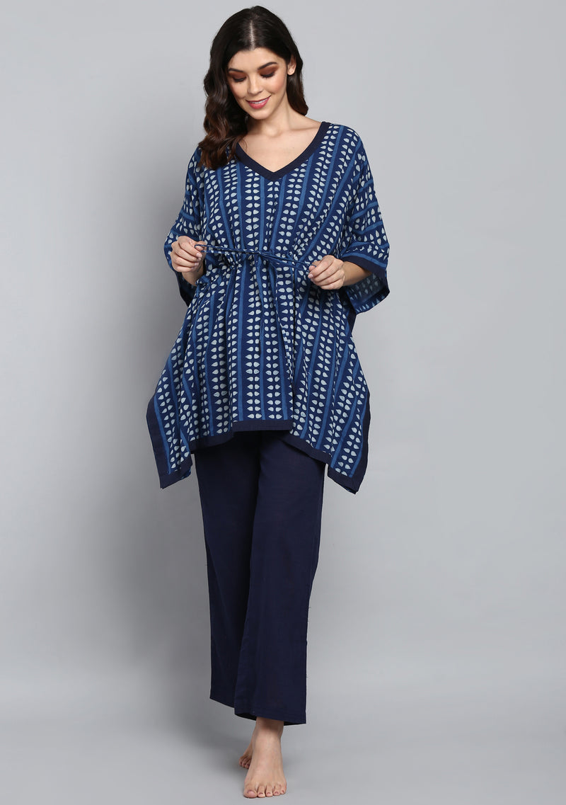 Indigo Ivory Hand Block Printed  Short Kaftan with Pyjamas