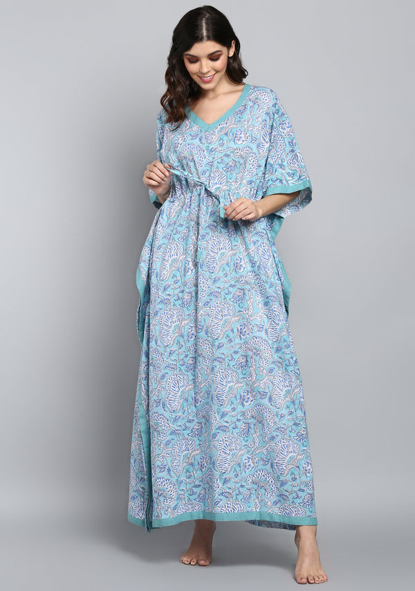 Aqua Blue Hand Block Printed Floral Tie-Up Waist Cotton Kaftan