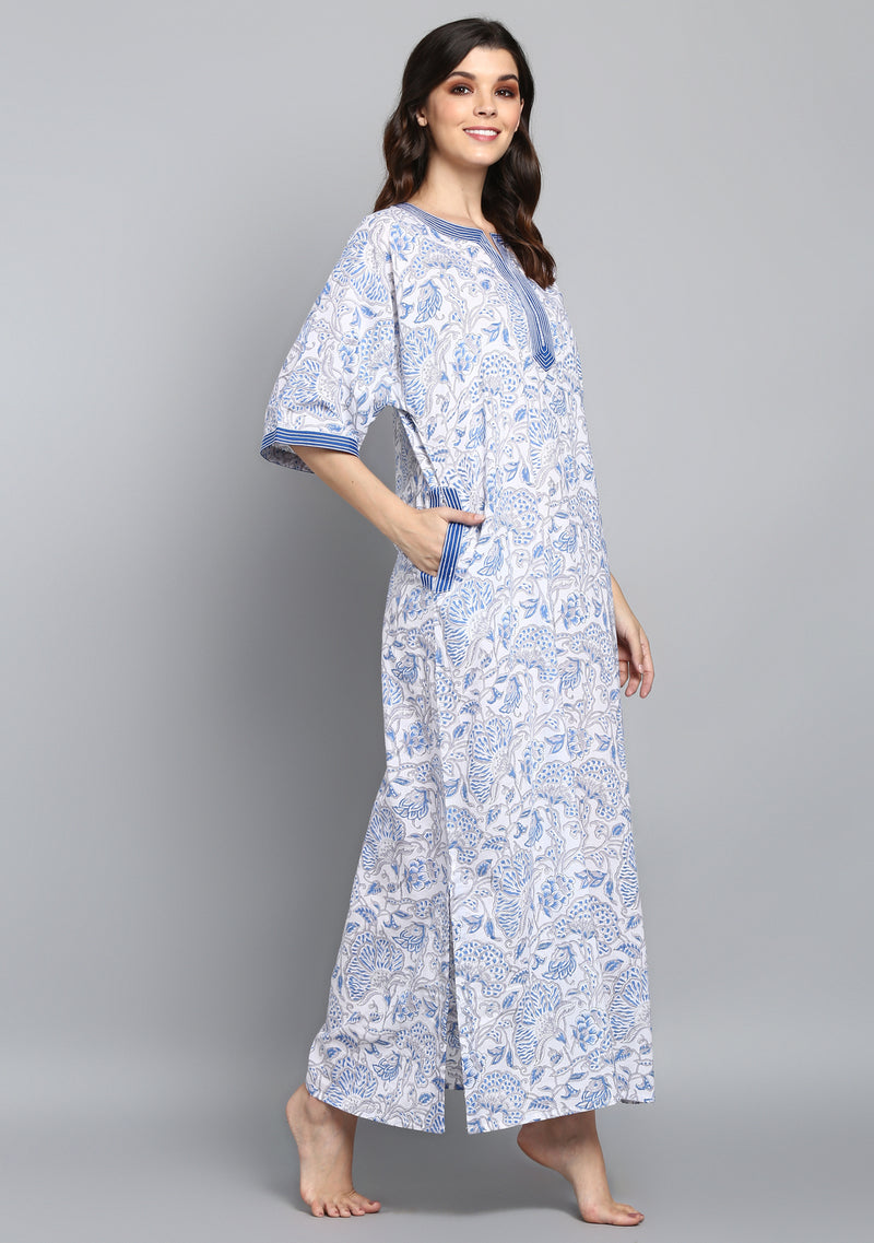 White Blue Hand Block Printed Floral Nighty Kaftan with Stitch Lines