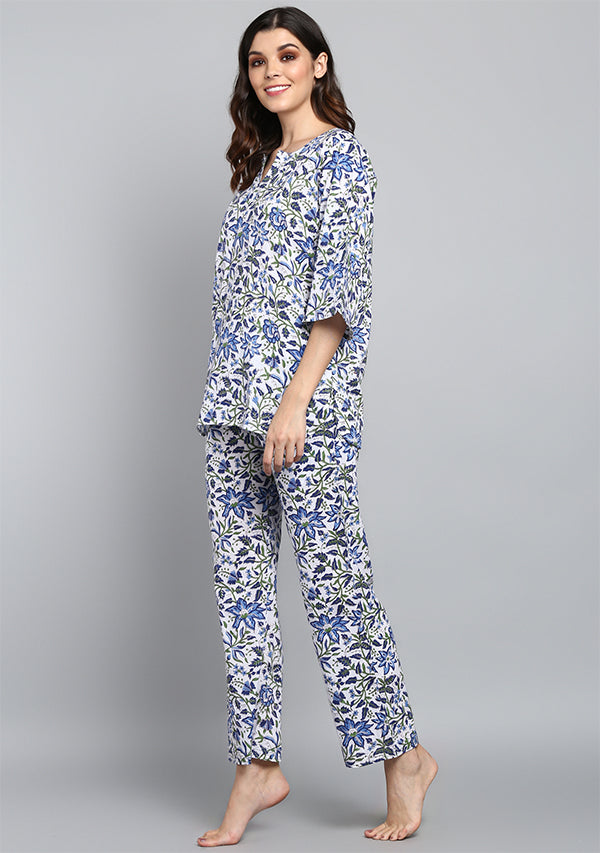 White blue Floral Hand Block Printed Floral Cotton Night Suit