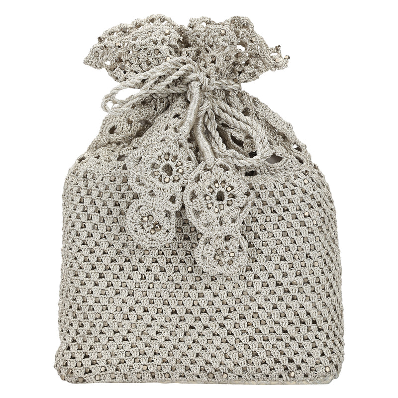 Luxury  Hand Crocheted Antique Silver Zari Pouch