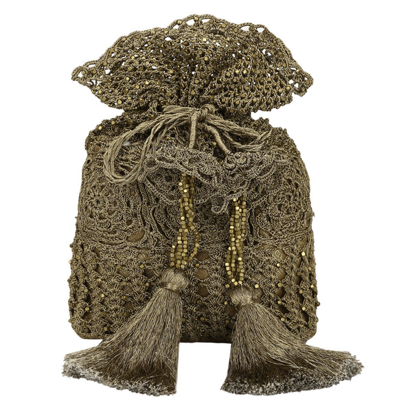 Luxury  Hand Crocheted Antique Gold Zari Pouch