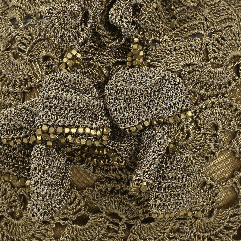 Copy of Luxury  Hand Crocheted Antique Gold Zari Pouch