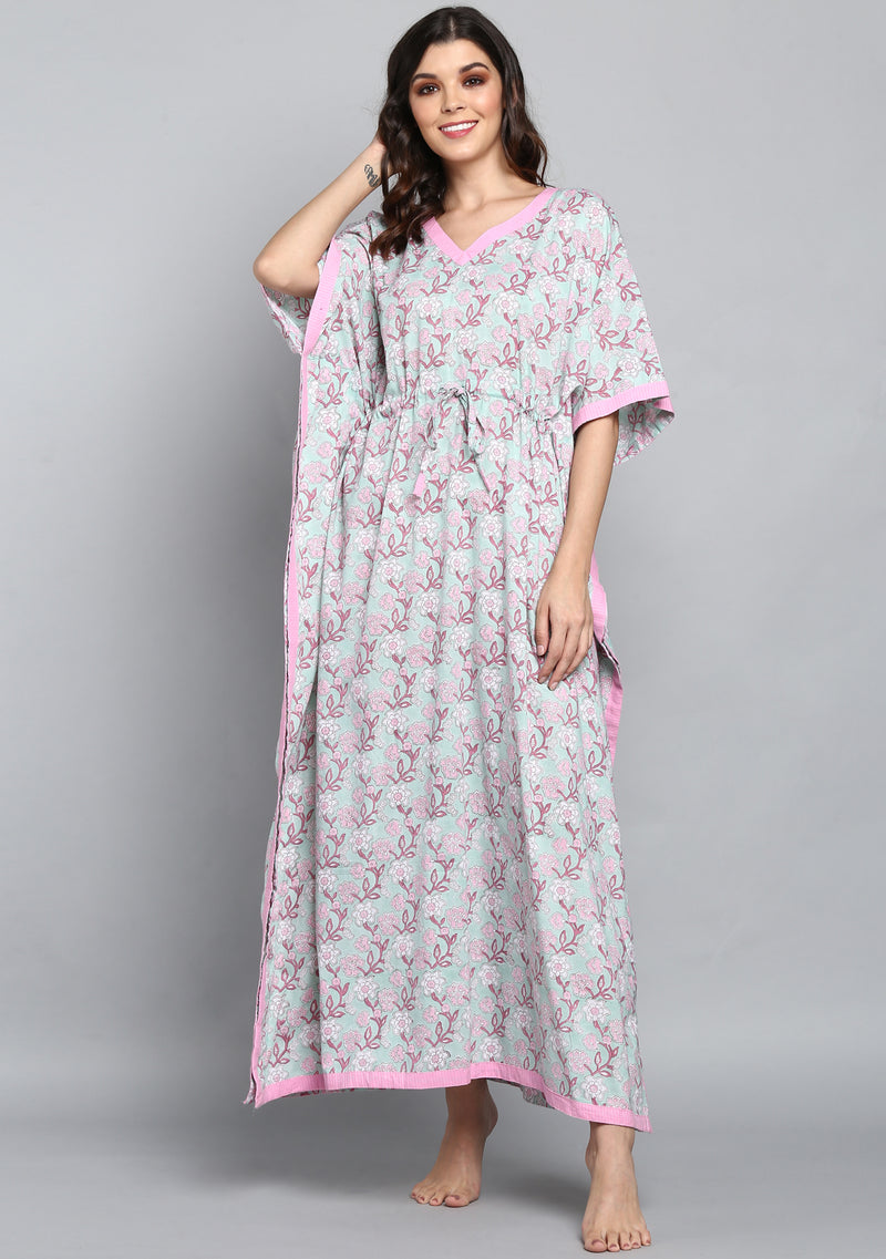 Aqua Pink Hand Block Printed Floral Tie-Up Waist Cotton Kaftan