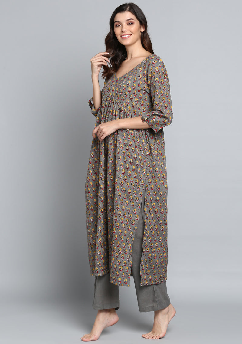 Grey Yellow Hand Block Print Flower Motif Cotton Kurta paired with Pants