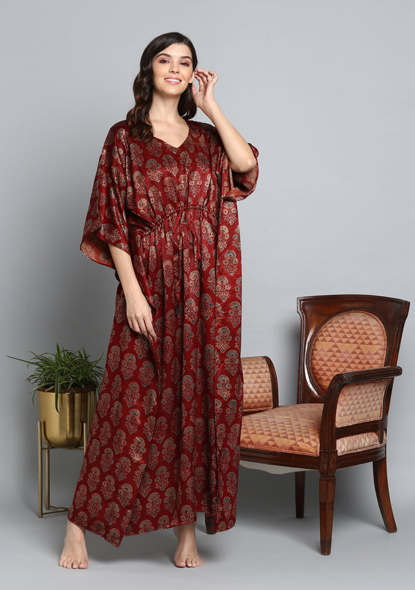 Red Blue Printed Flower Motif Mushru Luxury Kaftan with Tie-Up Waist