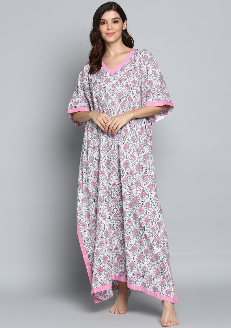 Grey Pink Hand Block Printed Flower Motif V-Neck Cotton Kaftan