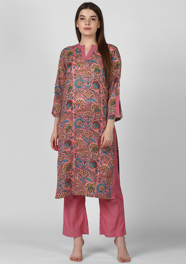 ADAA Pink Blue Floral Hand Block Printed Cotton Kurta with Pants