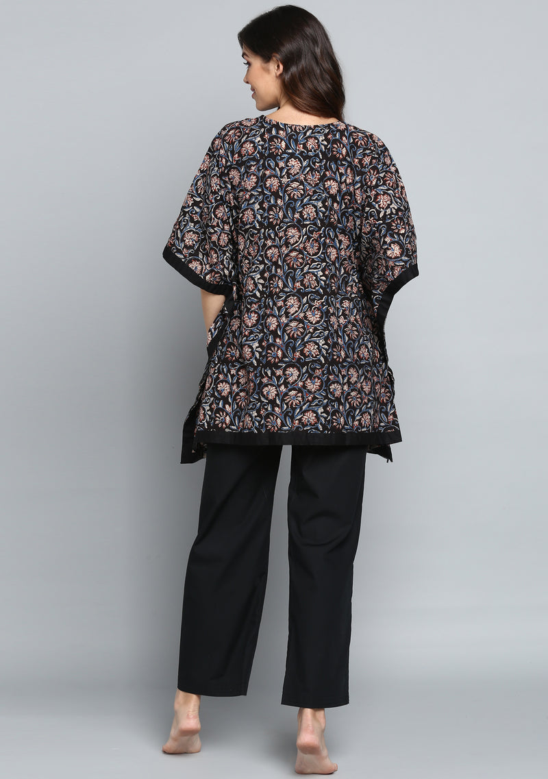 Black Rust Hand Block Printed Floral Short Kaftan with Pyjamas