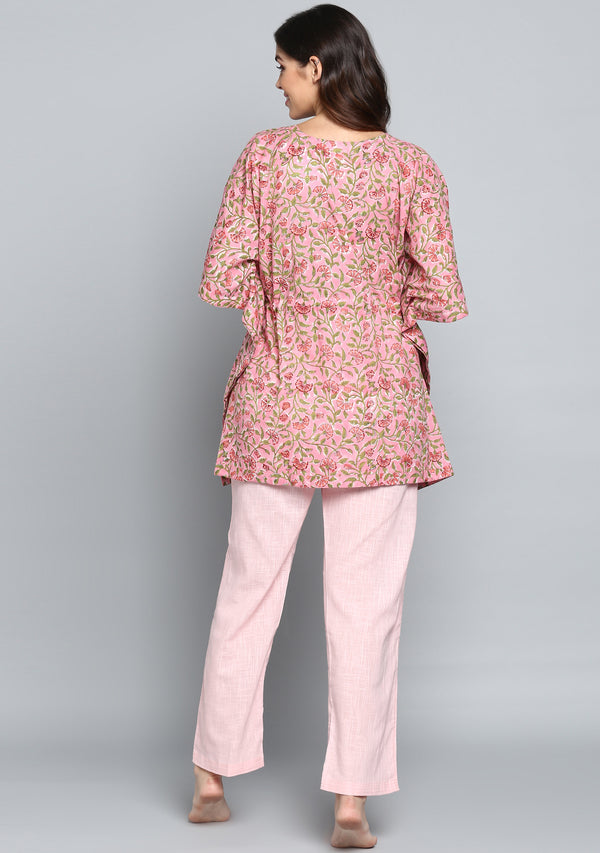 Pink Green Hand Block Printed Floral Short Kaftan with Pink Pyjamas