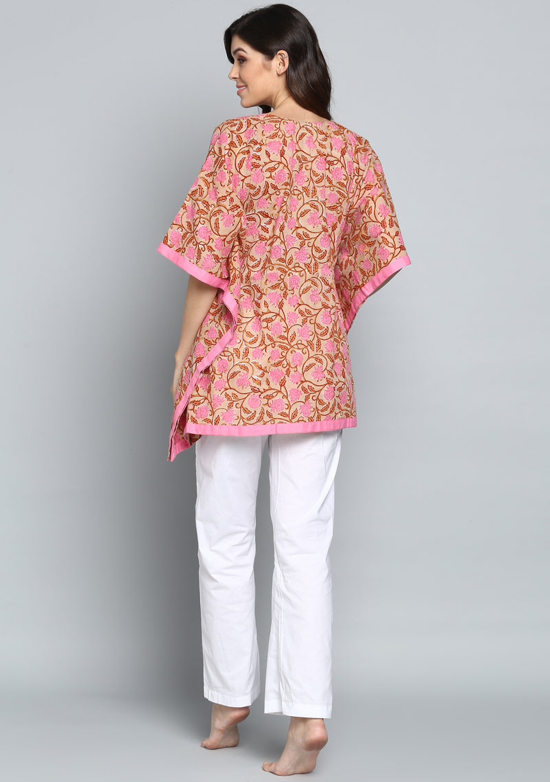 Beige Pink Hand Block Printed Floral Short Kaftan with Pyjamas