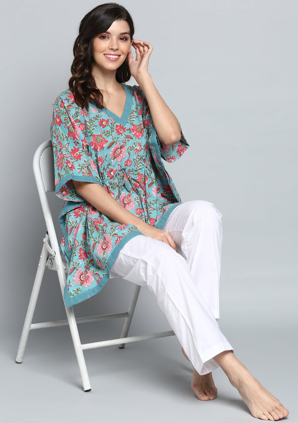 Aqua Pink Hand Block Printed Floral Short Kaftan with Pyjamas