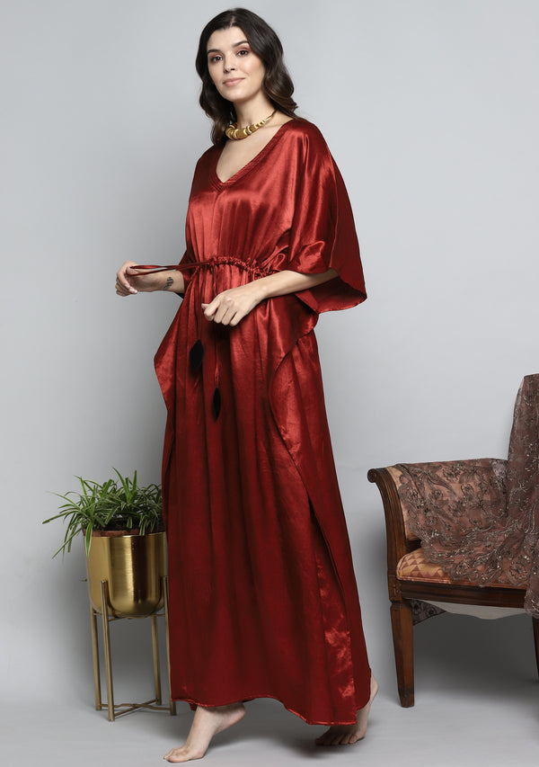 Red Mushru Luxury Kaftan with Tie-Up Waist and Contrast Black Trimming