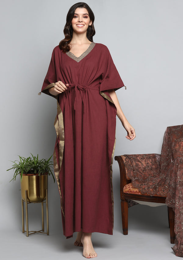 Maroon Luxury Cotton  Kaftan with Hand Crocheted Antique Gold Zari Neckline