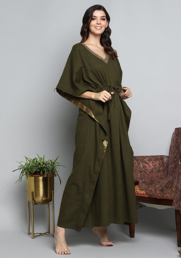 Khaki Green Luxury Cotton  Kaftan with Hand Crocheted Antique Gold Zari Neckline