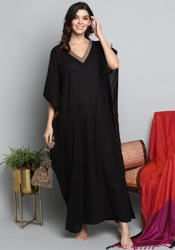 Black Luxury Cotton  Kaftan with Hand Crocheted Antique Gold Zari Neckline