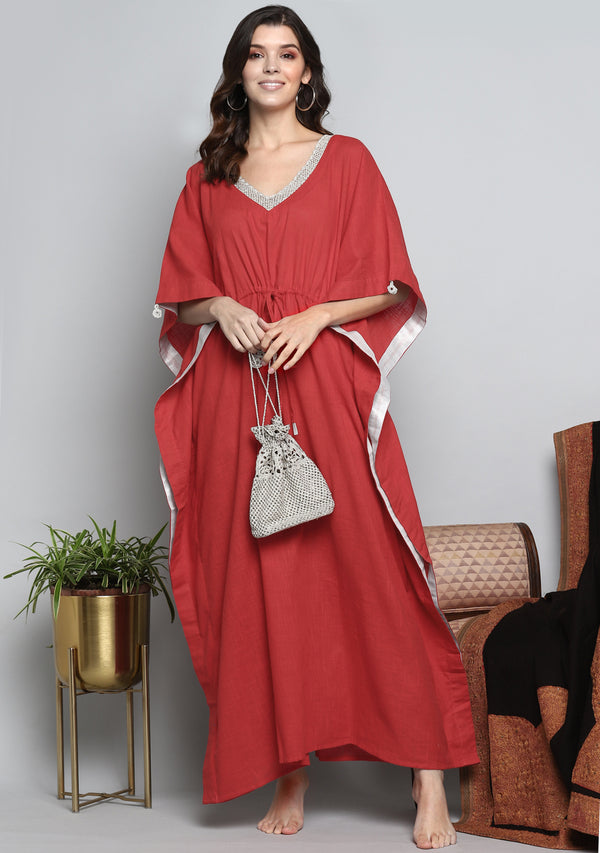 Red Luxury Tie Up Waist Cotton Kaftan with Hand Crocheted  Silver Zari Neckline