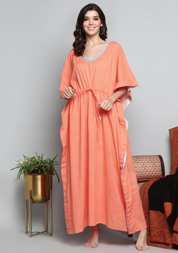Peach Luxury Tie Up Waist Cotton  Kaftan with Hand Crocheted Antique Silver Zari Neckline