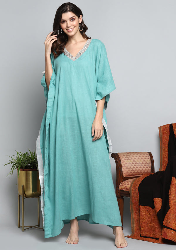 Aqua Luxury Cotton  Kaftan with Hand Crocheted Antique Silver Zari Neckline