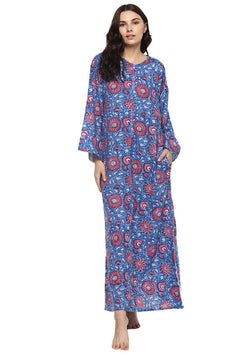 Blue Pink Floral Bell Sleeves Cotton Night Dress Long Sleeves and Zip Detail