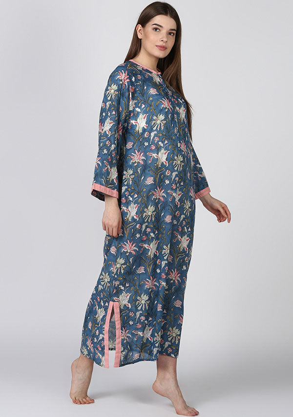 Blue Pink Floral Night Dress Long Sleeves and Zip Detail