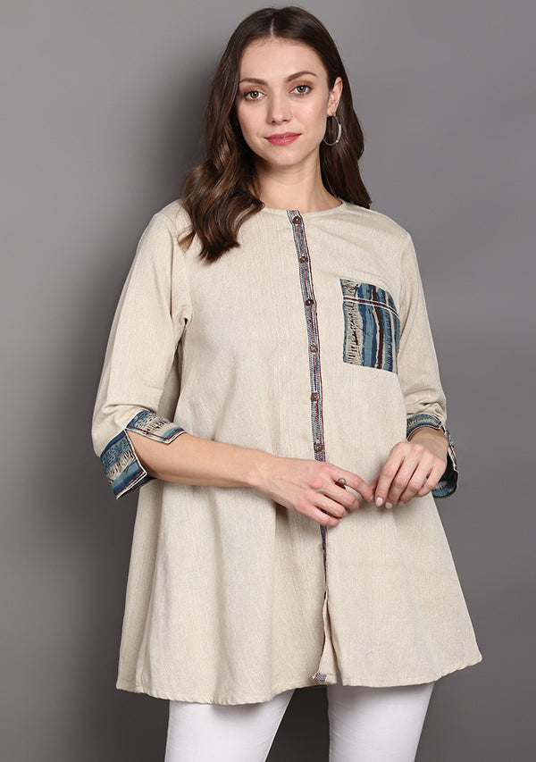 Beige Cotton Tunic with Indigo Hand Block Printed Patch Pocket and Cuffs