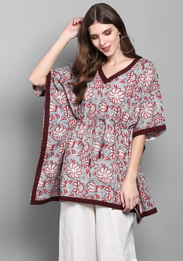 Grey Maroon Flower Motif Hand Block Printed Short Cotton Kaftan Tunic