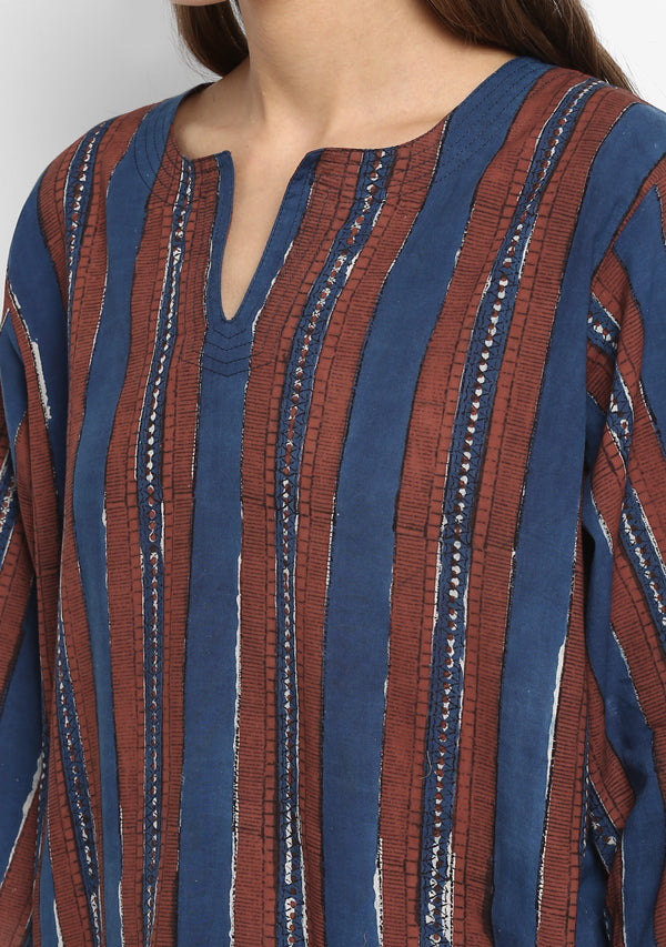 Navy Blue Red Striped Hand Block Printed Floral Cotton Night Suit