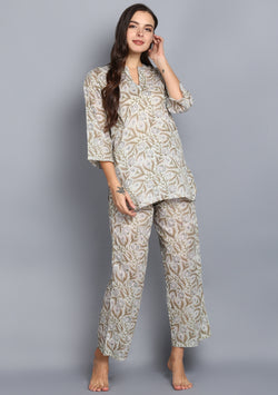 Aqua Olive Floral Jaal Hand Block Printed Cotton Night Suit