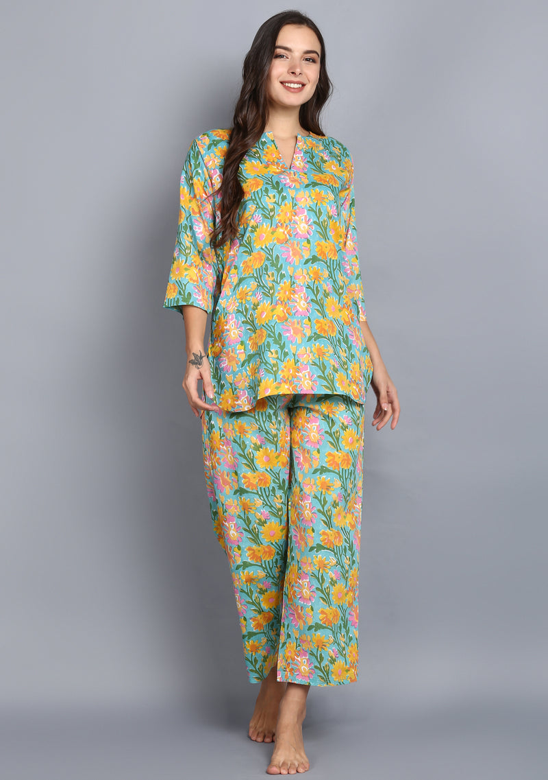 Turquoise Yellow Hand Block Printed Floral Cotton Night Suit