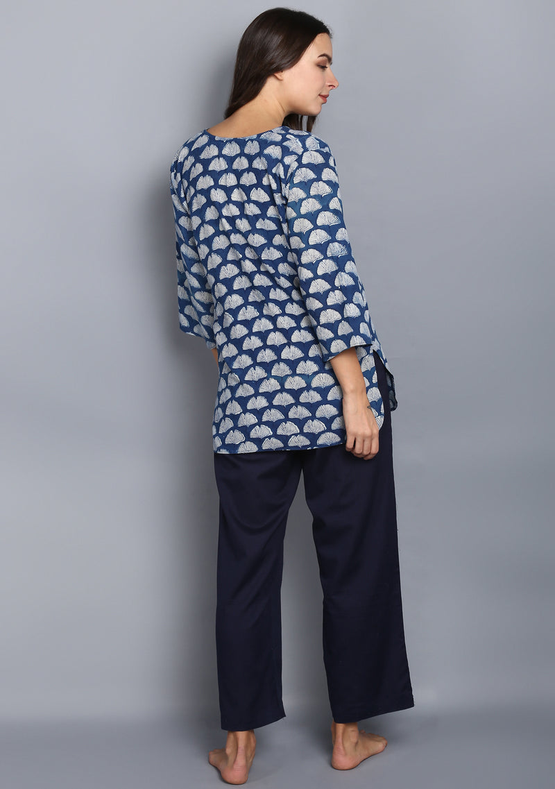 Indigo Ivory  Hand Block Printed Shell Motif Cotton Night Suit