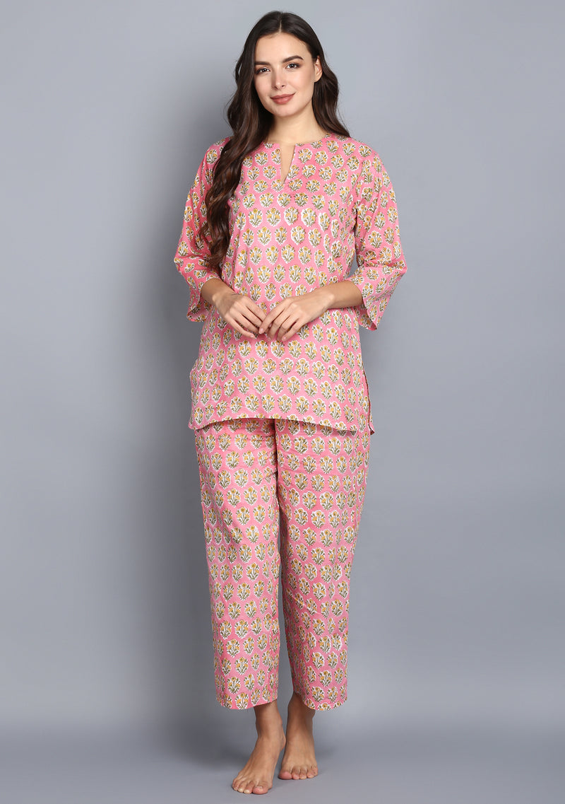 Pink Yellow Hand Block Printed Floral Cotton Night Suit