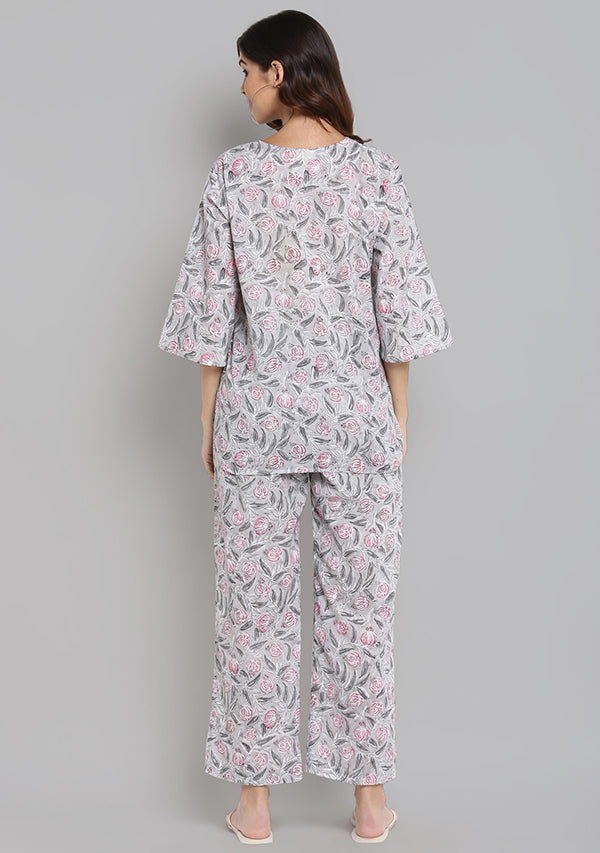 Grey Pink Floral Hand Block Printed Cotton Night Suit