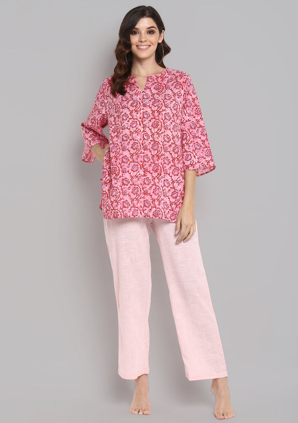 Pink Red Hand Block Printed Floral Cotton Night Suit