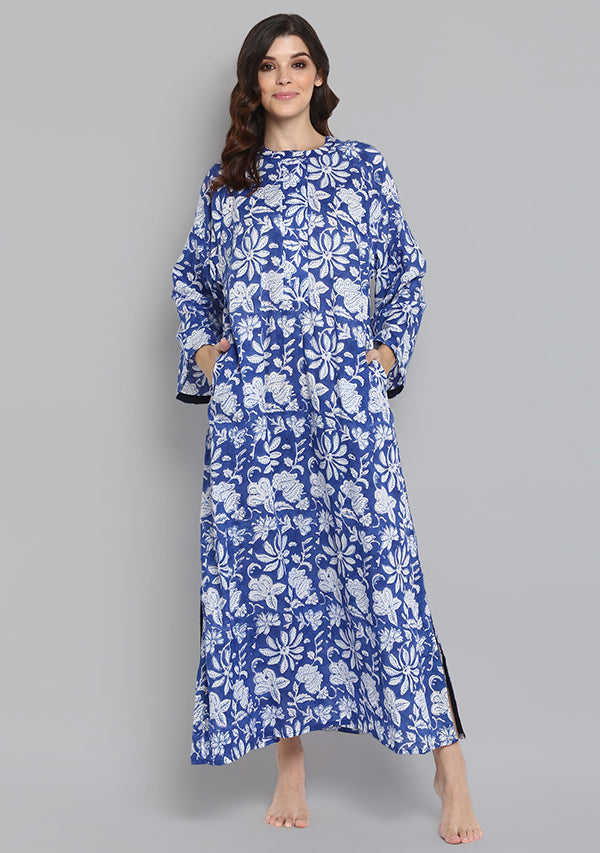 Navy Blue Hand Block Printed Floral Cotton Night Dress with Long Sleeves and Zip Detail