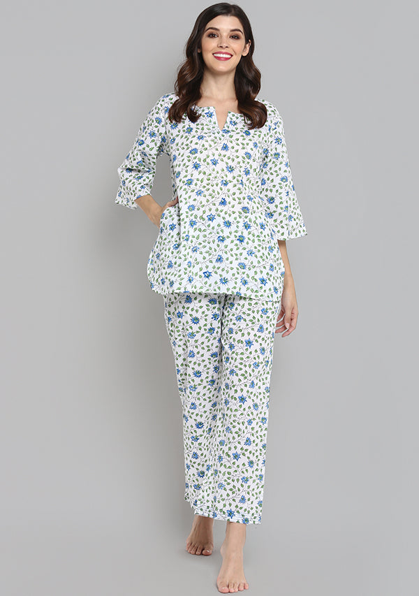 Blue Green Hand Block Printed Floral Cotton Night Suit