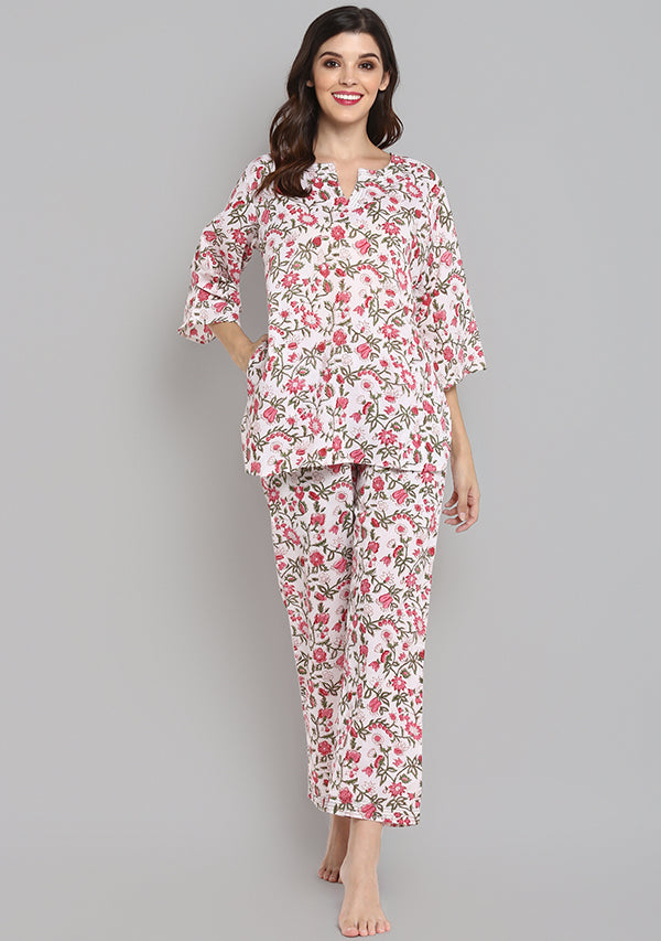 Ivory Pink Hand Block Printed Floral Cotton Night Suit