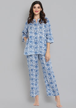 Ivory Blue Hand Block Printed Floral Cotton Night Suit