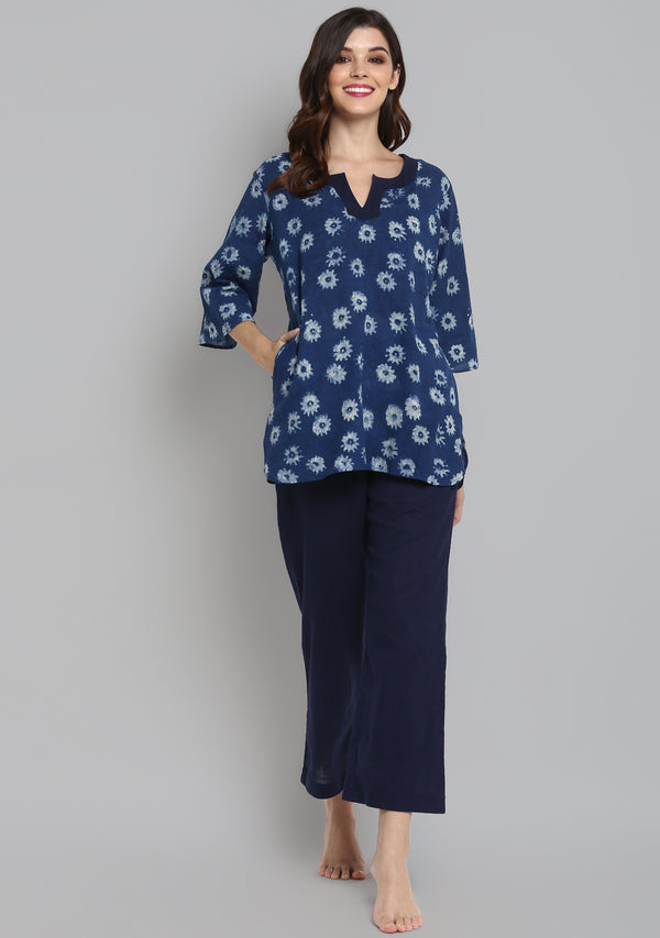 Indigo Ivory Hand Block Printed Flower Motif Cotton Night Suit