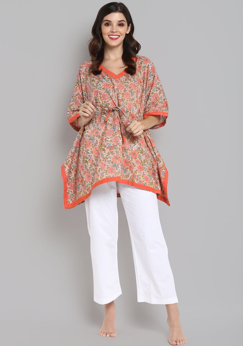 Peach Blue Hand Block Printed Floral Short Kaftan Tunic