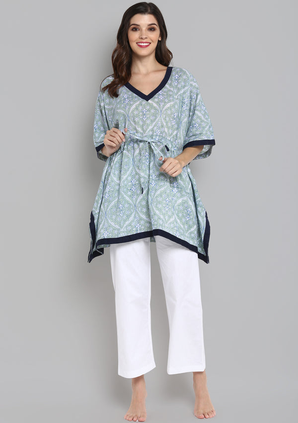 Soft Green Hand Block Mughal Printed Floral Short Kaftan with White Pyjamas