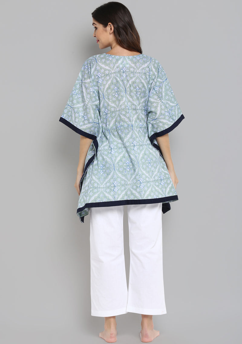 Soft Green Blue Hand Block Mughal Printed Floral Short Kaftan Tunic