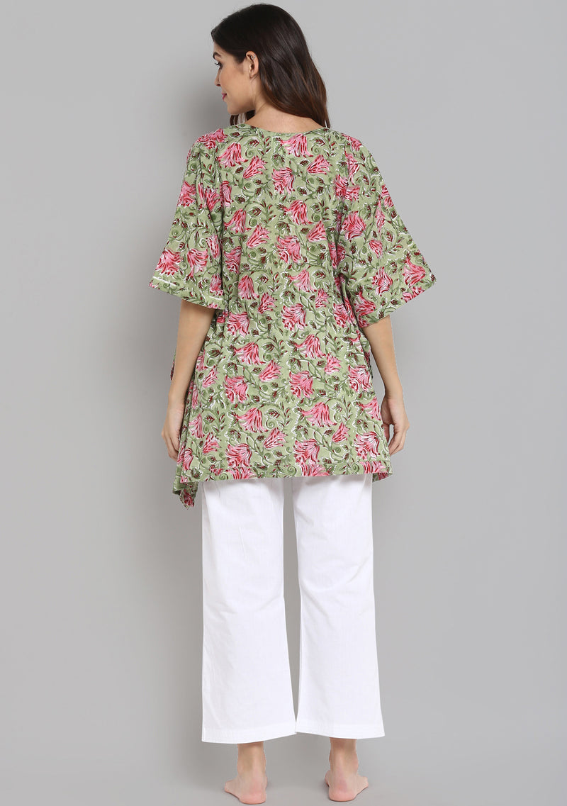 Lime Green Pink Hand Block Printed Floral Short Kaftan with White Pyjamas
