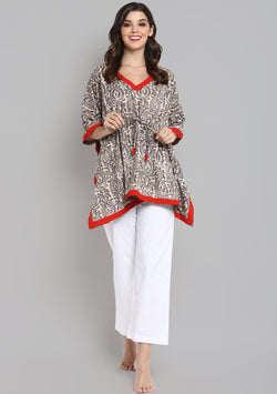Beige Red Hand Block Printed Floral Short Kaftan with White Pyjamas