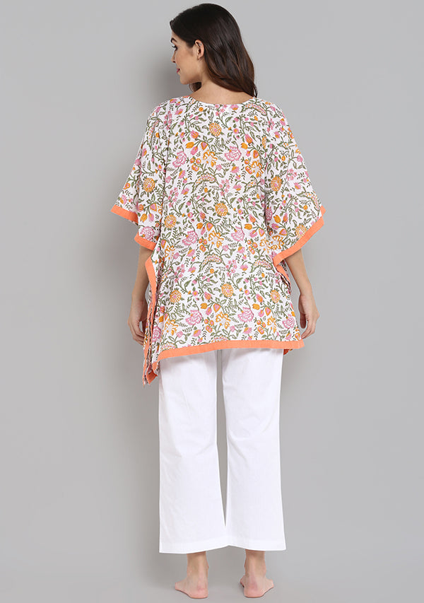 Peach Green Hand Block Printed Floral Short Kaftan with White Pyjamas
